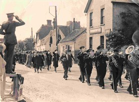Photo:British Legion parading, probably in 1945,  in High Street, Orwell